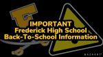 Frederick High School Back-To-School Information