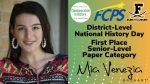 Frederick High Senior Mia Venezia named National History Day District-Level Winner