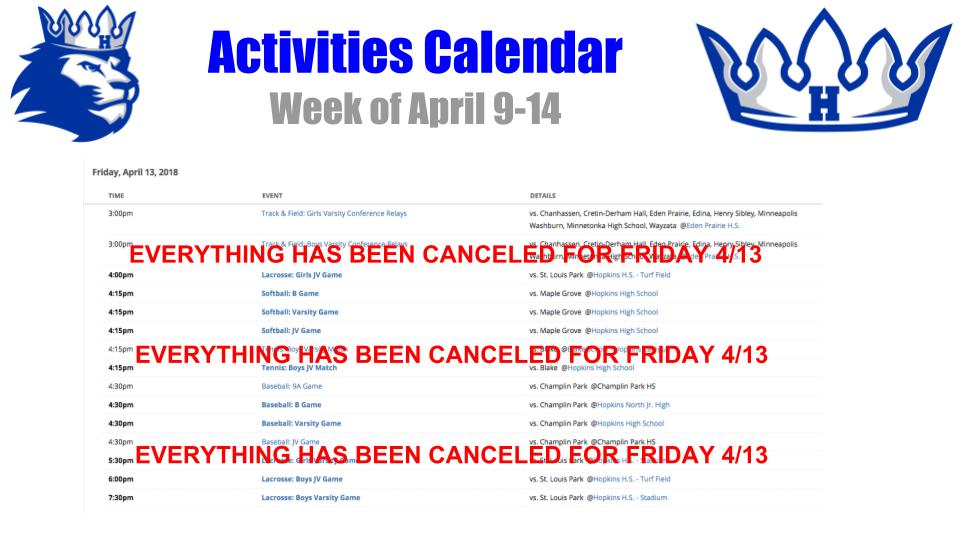 All Outdoor Athletic Events Canceled Friday 4/13