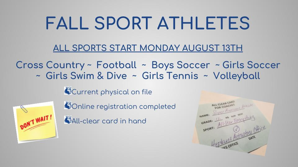 Fall Sport Registration Reminder!