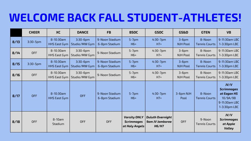 Welcome Back Fall Student-Athletes!