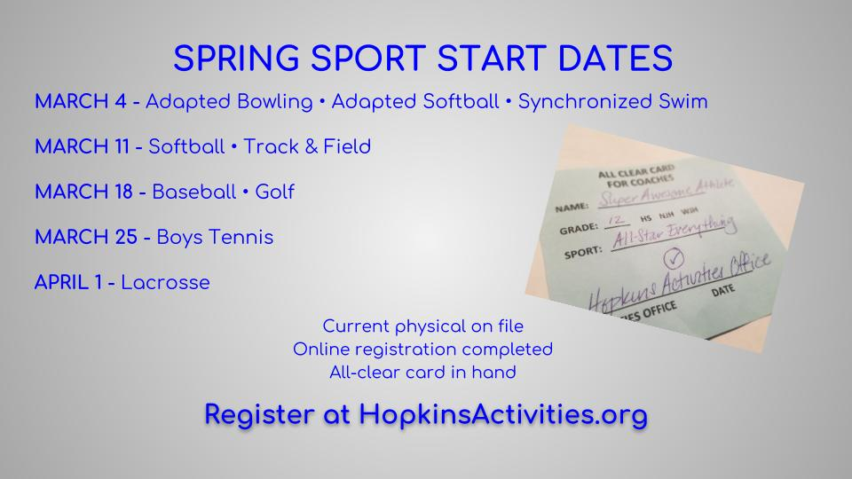 Countdown to Spring Sports…Are you Ready?!
