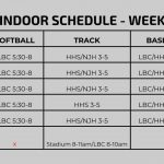 Spring Indoor Schedule – Week of March 11th