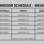 Spring Indoor Schedule – Week of March 11th