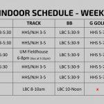 Spring Indoor Schedule – Week of 3/18