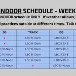 Spring Indoor Schedule – Week of 3/25 (Spring Break)