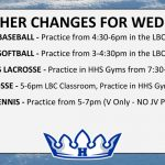 WEATHER CHANGES FOR WED. 4/10