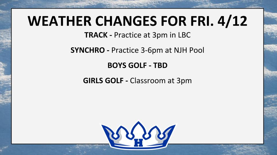 WEATHER CHANGES FOR FRI. 4/12 (cont.)