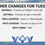 WEATHER CHANGES FOR TUES. 4/30