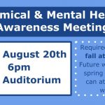 Fall Chemical & Mental Health Awareness Meeting – Tues. 8/20