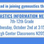 Gymnastics Information Meeting – Wed. October 2nd at 3:15pm