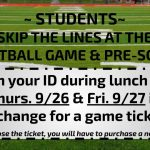 Skip the line at the football game this Friday!