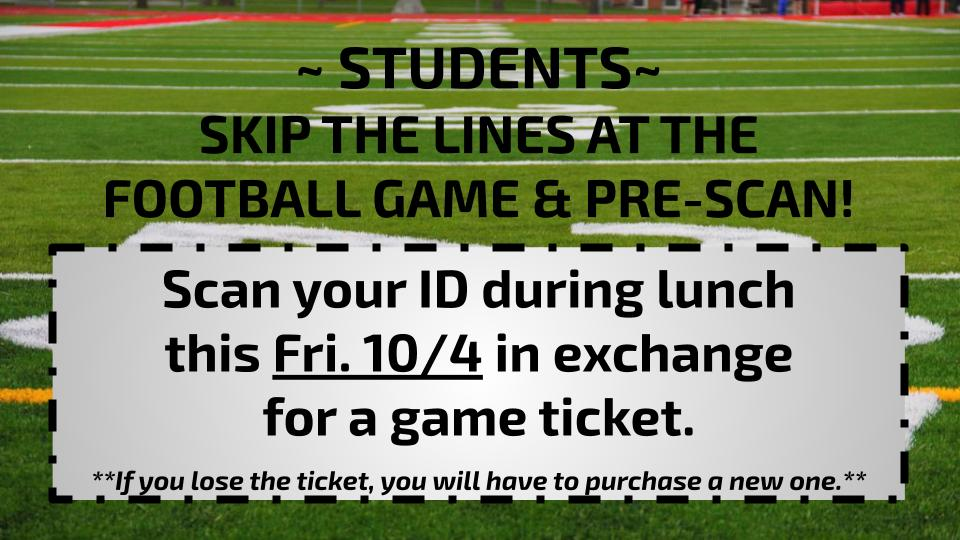 Skip the lines at the Homecoming FB Game tonight!