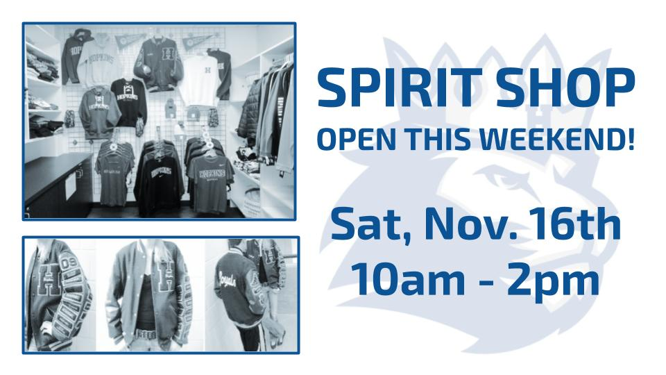 Spirit Shop – Open this Saturday!