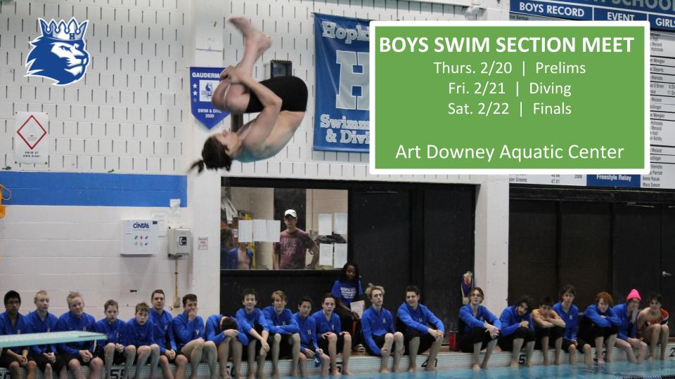Boys Swim & Dive Section 6AA Meet – Thurs. 2/20-Sat. 2/22