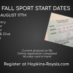 Fall Season Begins Monday, August 17th