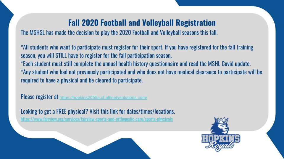 2020 Football and Volleyball Registration and Season Info