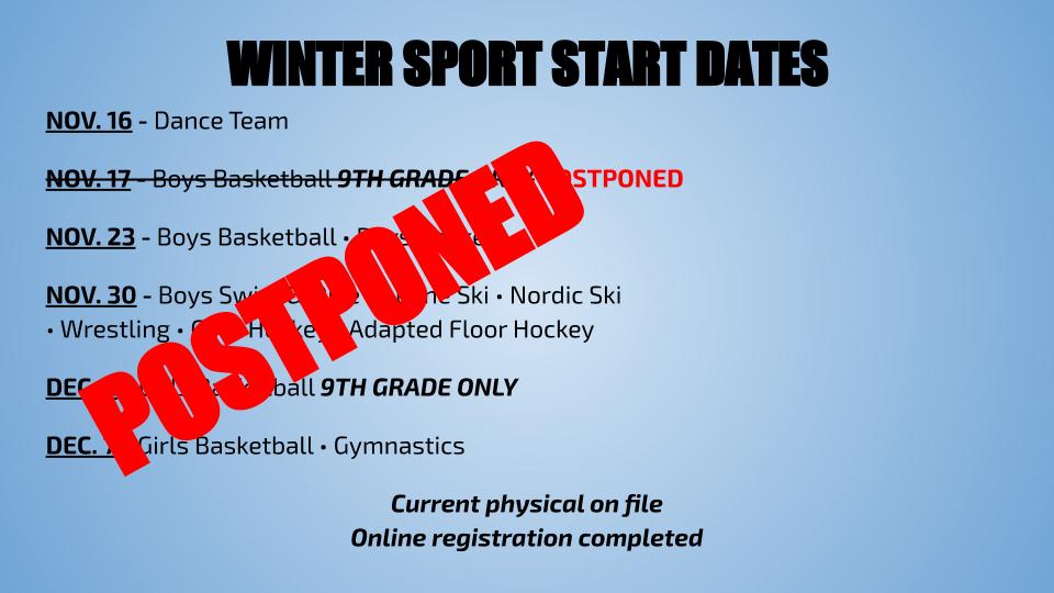 Winter Sports on Hold – Registration Still Open!