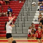 Portage High School Girls Varsity Volleyball falls to Bishop Noll Institute 2-0