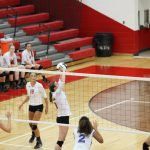 Portage High School Girls Varsity Volleyball beat Washington Township High School 2-0