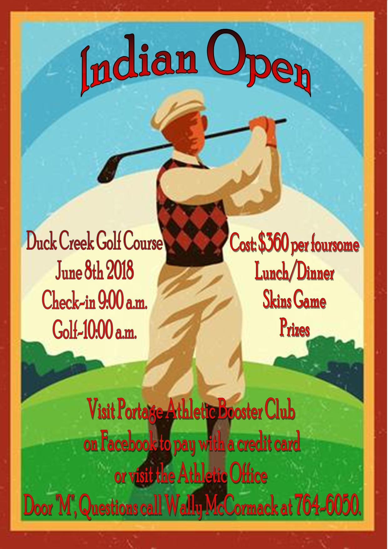 """Indian Open"" Golf Outing June 8th"