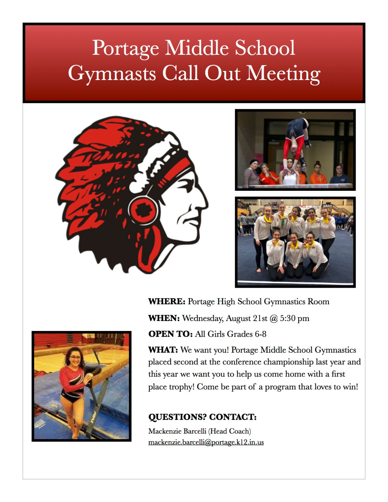 Middle School Gymnastics Call Out!