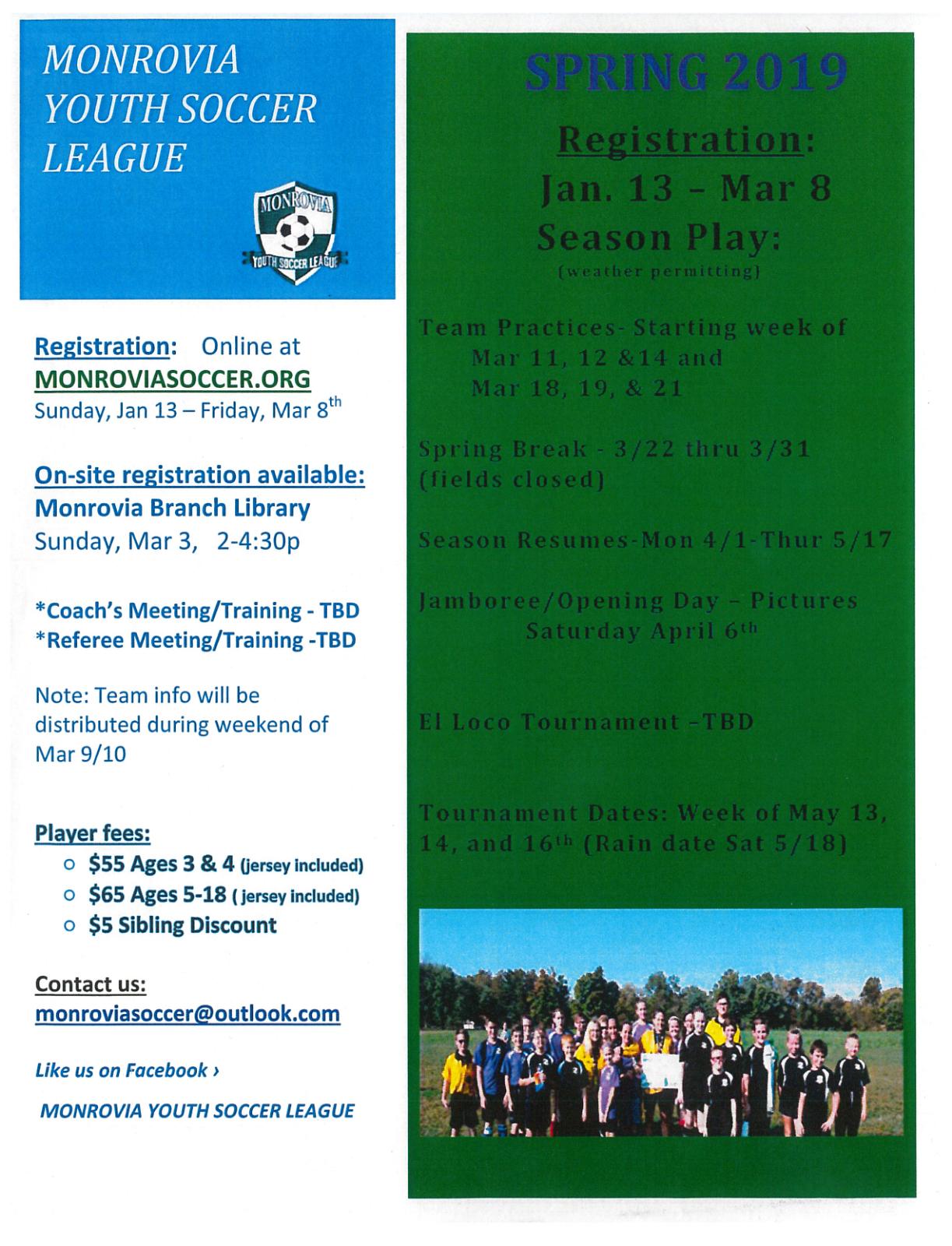 Monrovia Youth Soccer Registration