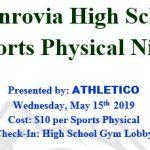 Monrovia Sports Physical Night – May 15th (5-9p)
