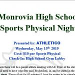 Monrovia Sports Physical Night – This Wednesday May 15th (5-9p)