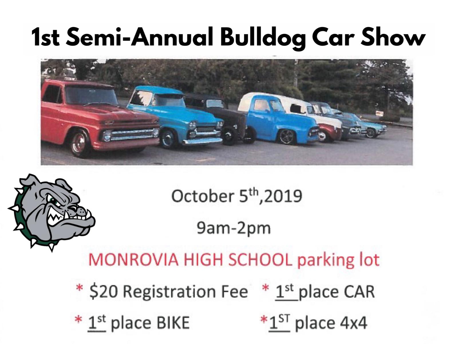 Bulldog Car Show – Oct. 5, 2019 (at MHS)