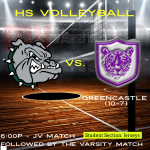 HS Volleyball Hosts Greencastle Tonight (6:00/7:15pm)