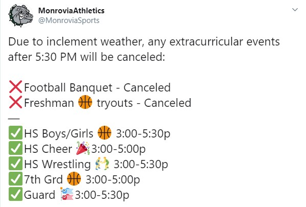 Any extra-curricular events scheduled for after 5:30 PM tonight (11/11/19) are CANCELED