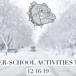 ⚠️ All after-school activities for today (12/16/19) have been CANCELLED! ⚠️