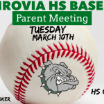 High School Baseball – Parent Meeting on Tuesday, March 10th
