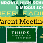 Monrovia High School & Middle School Cheerleading – Parent Meeting (March 5 @ 5:30 PM)