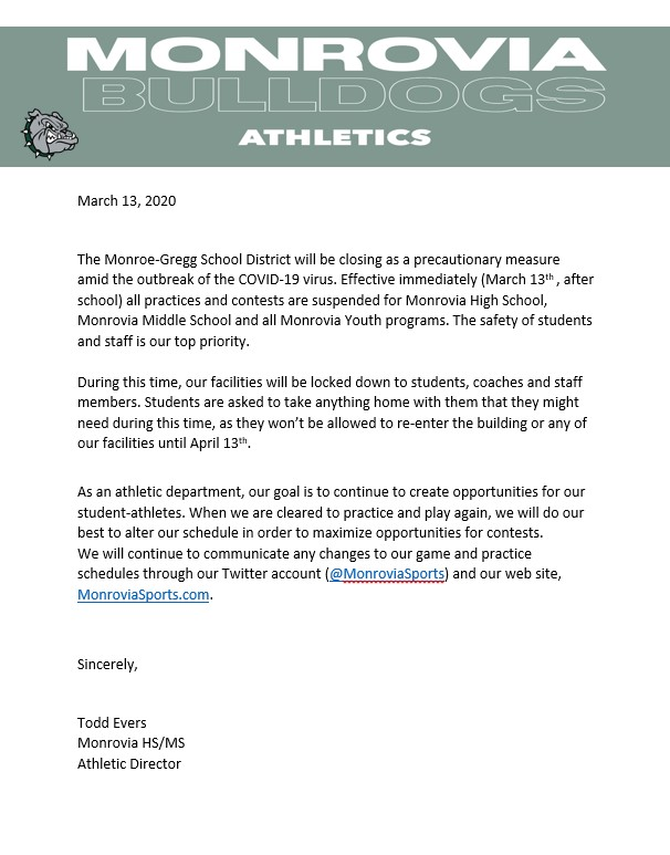Monrovia Athletics Suspended