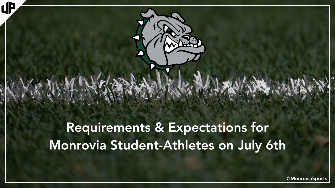 Requirements & Expectations for Monrovia Student-Athletes (beginning on July 6th)