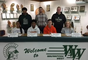 2-19-19 Athlete Signings – A. Johnson-Moorer, L. Nemitz, J. Simmons & S. Whitlock