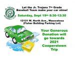 Support our Jr Trojans Baseball Club Car Wash on 9/19