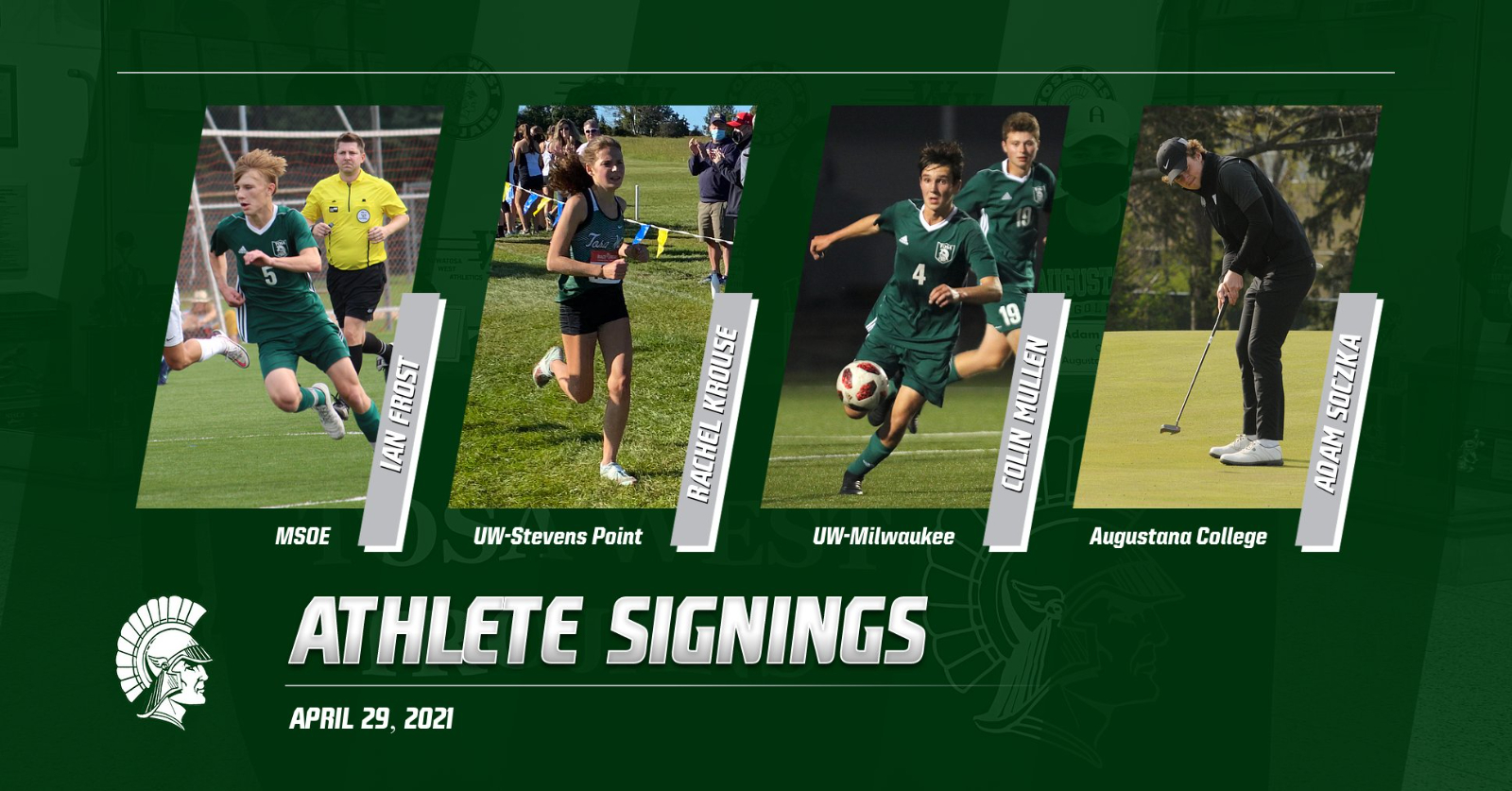 4/29/21 Athlete Signings – I. Frost, R. Krouse, C. Mullen & A. Soczka