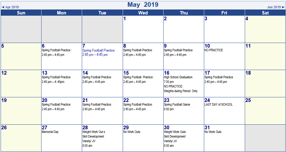 2019 SPRING AND SUMMER SCHEDULES