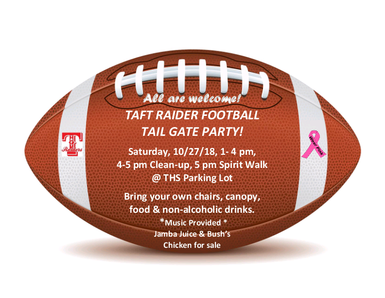Taft Raider Football Tailgate Party