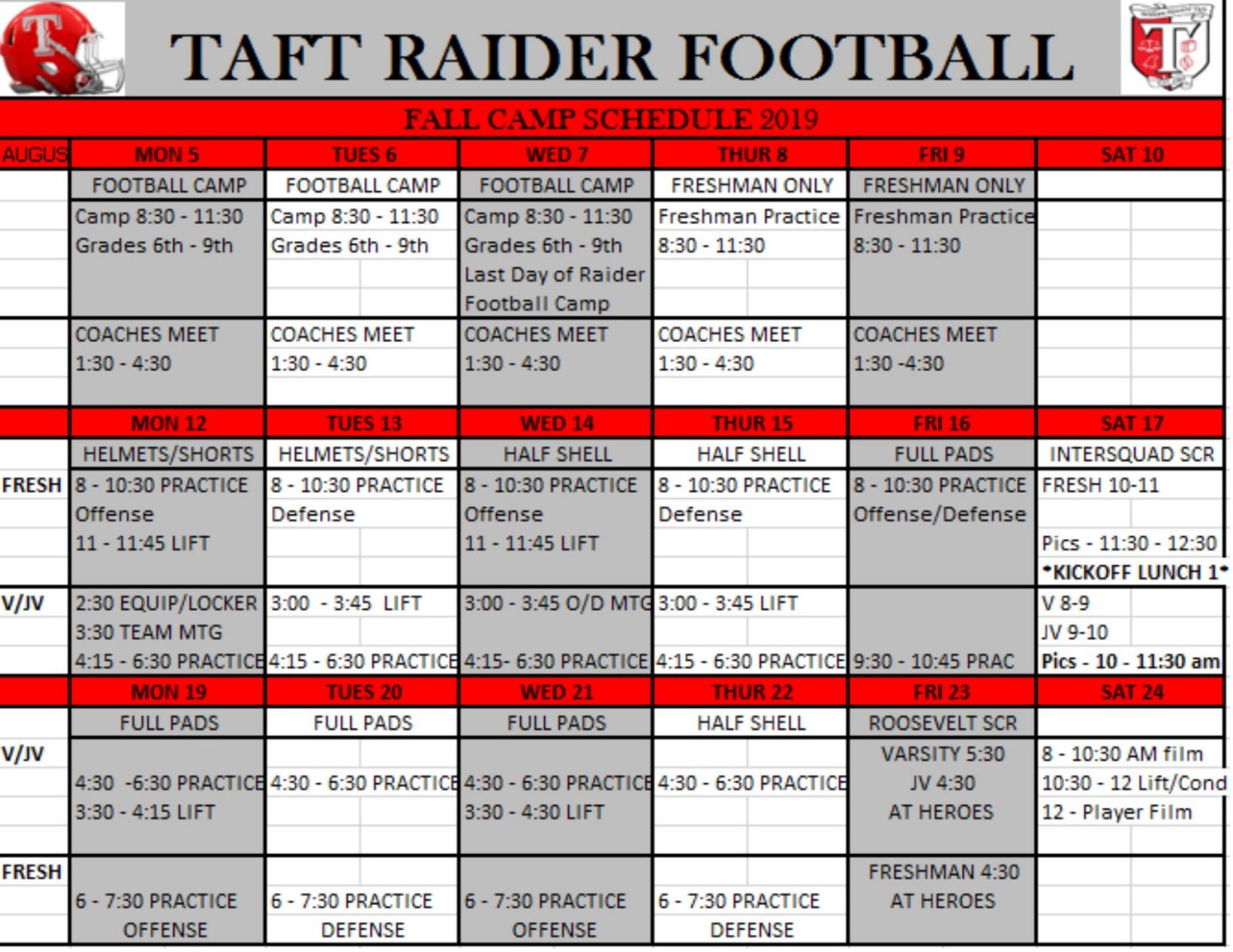 Football Fall Camp Schedule