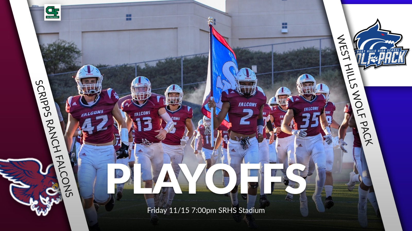 Football Playoffs vs. West Hills Tonight @ 7:00pm