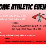 Home Athletic Events Week of 10/12