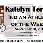 Katelyn Terrell Female Indian Athlete of the Week