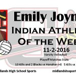 Emily Joyner Indian Athlete of the Week November 2nd
