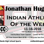 Jonathan Hughes Indian Athlete of the Week November 16th