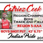 Catriez Cook Region Track Champion Boys Shot Put