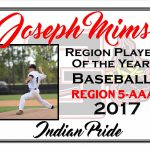 Joseph Mims Region Player of the Year Baseball